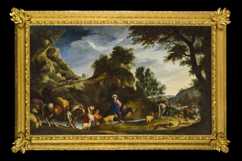 17th Century, Italian School, Oil on Canvas Painting with Flight to Egypt - Paintings & Drawings Style