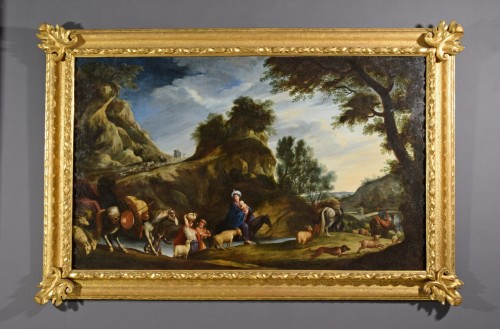 Paintings & Drawings  - 17th Century, Italian School, Oil on Canvas Painting with Flight to Egypt