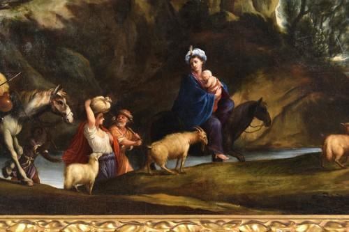 17th century - 17th Century, Italian School, Oil on Canvas Painting with Flight to Egypt