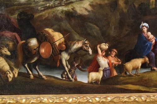 Antiquités - 17th Century, Italian School, Oil on Canvas Painting with Flight to Egypt