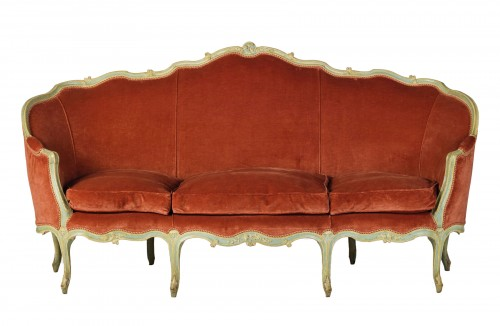 French Louis XV Three-seater Lacquered Woos Corbeille Sofa