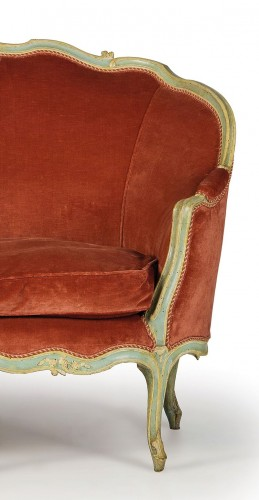 French Louis XV Three-seater Lacquered Woos Corbeille Sofa - Seating Style Louis XV