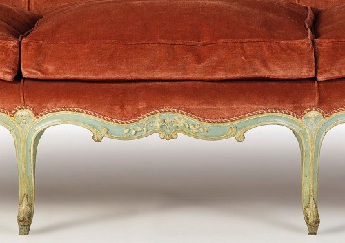 Seating  - French Louis XV Three-seater Lacquered Woos Corbeille Sofa