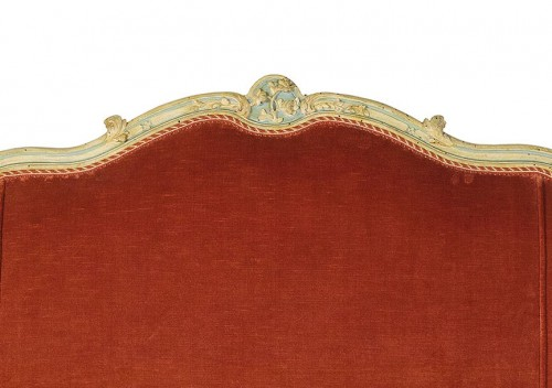 French Louis XV Three-seater Lacquered Woos Corbeille Sofa -