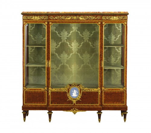19th Century, French Purple Wood Showcase with gilt bronze