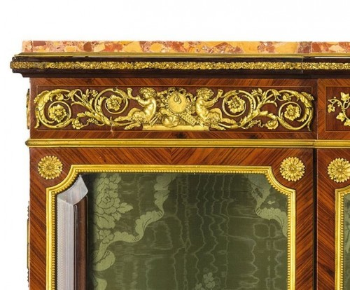 19th Century, French Purple Wood Showcase with gilt bronze -