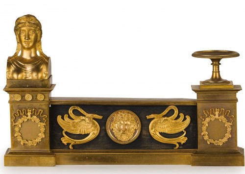 19th Century, Pair of French Empire Style Gilt Bronze Fireplace Chenets  - Architectural & Garden Style Empire