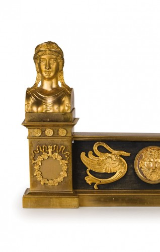 Architectural & Garden  - 19th Century, Pair of French Empire Style Gilt Bronze Fireplace Chenets
