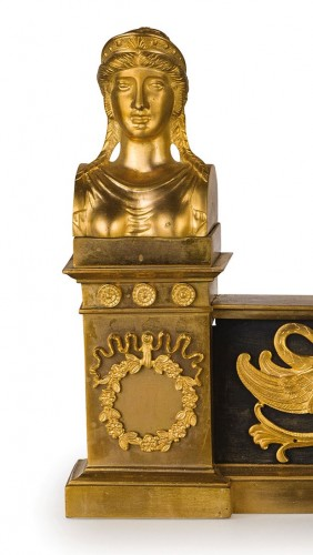 19th Century, Pair of French Empire Style Gilt Bronze Fireplace Chenets  -