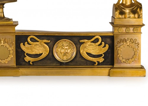 19th century - 19th Century, Pair of French Empire Style Gilt Bronze Fireplace Chenets
