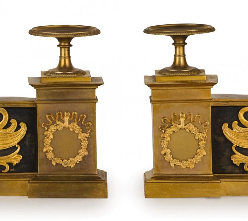 Empire - 19th Century, Pair of French Empire Style Gilt Bronze Fireplace Chenets