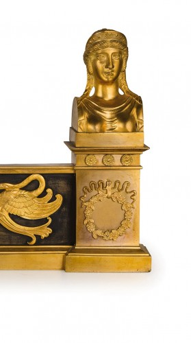 Antiquités - 19th Century, Pair of French Empire Style Gilt Bronze Fireplace Chenets