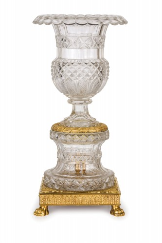 19th century, French Empire Ground Crystal and Gilt Bronze Vase Centrepiece