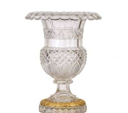 19th century, French Empire Ground Crystal and Gilt Bronze Vase Centrepiece - Glass & Crystal Style Empire
