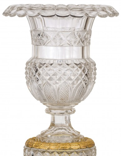 19th century - 19th century, French Empire Ground Crystal and Gilt Bronze Vase Centrepiece