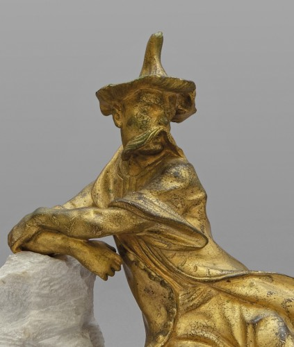 18th Century Pair of French Gilt Bronze Sculptures on Marble Base  - Sculpture Style Transition