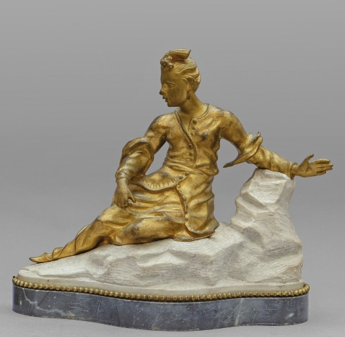 18th Century Pair of French Gilt Bronze Sculptures on Marble Base  -