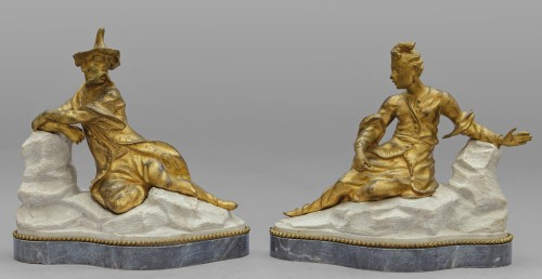 18th century - 18th Century Pair of French Gilt Bronze Sculptures on Marble Base