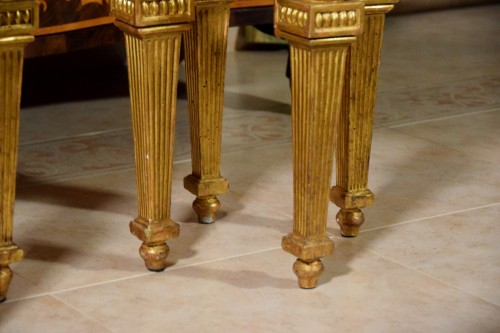 Seating  - 18th Century, Pair of Italian Neoclassical Carved Giltwood Stools