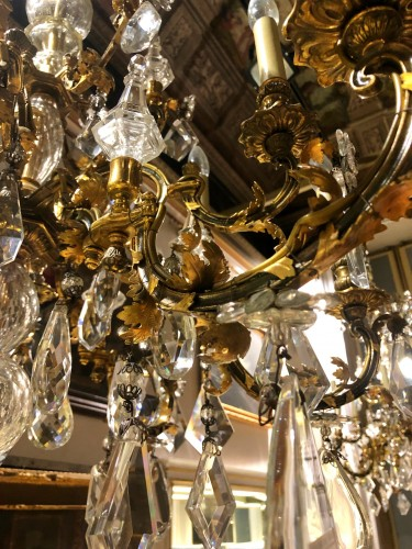 20th century - 20th Cent., Pair of French Crystal Gilt Bronze Chandeliers by Maison Baguès