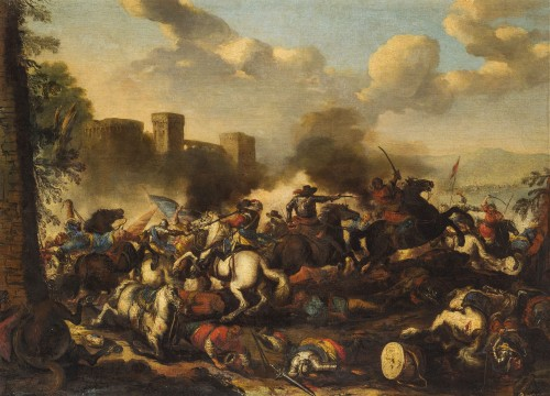 Antonio Calza, Battle between Christian and Turkish cavalry with castle