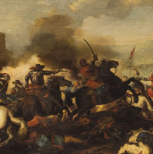Antonio Calza, Battle between Christian and Turkish cavalry with castle - Paintings & Drawings Style