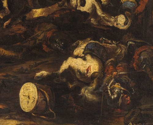 Paintings & Drawings  - Antonio Calza, Battle between Christian and Turkish cavalry with castle