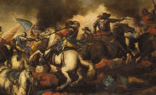 17th century - Antonio Calza, Battle between Christian and Turkish cavalry with castle