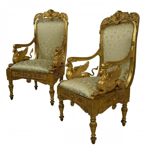 18th Century, Pair of Italian Neoclassical Carved Giltwood Armchairs