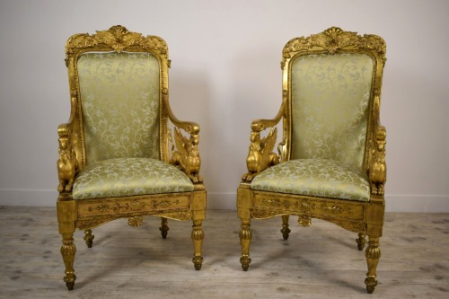 Seating  - 18th Century, Pair of Italian Neoclassical Carved Giltwood Armchairs