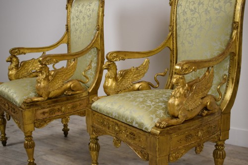 Louis XVI - 18th Century, Pair of Italian Neoclassical Carved Giltwood Armchairs