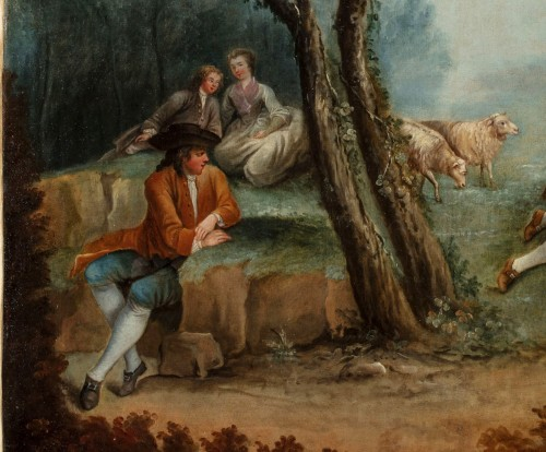 Paintings & Drawings  - 18Th Century, Four Italian Painting with Animated Scenes in Landscape