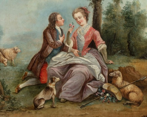 18Th Century, Four Italian Painting with Animated Scenes in Landscape -