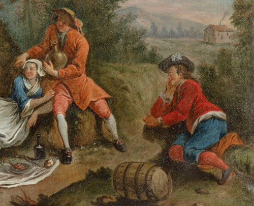 - 18Th Century, Four Italian Painting with Animated Scenes in Landscape