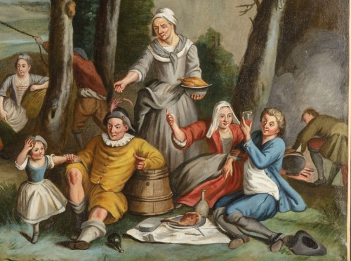 Antiquités - 18Th Century, Four Italian Painting with Animated Scenes in Landscape