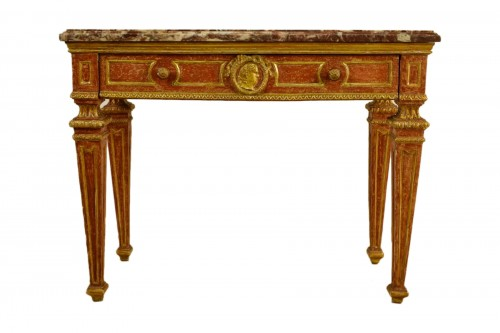 18th Century, Italian gilded and red Lacquered Wood with marble top
