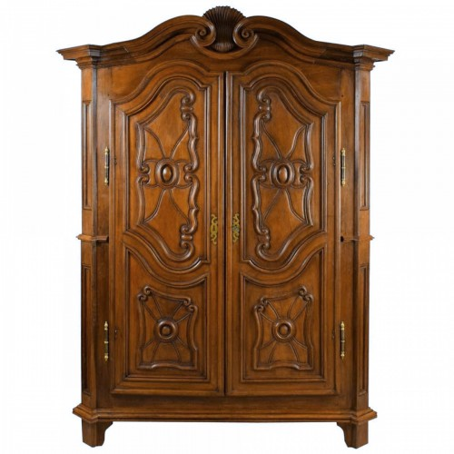 18th century italian solid walnut wood wardrobe