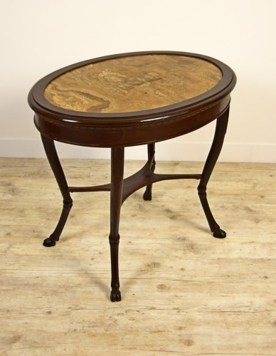 18th Century, Italian Neoclassical Wood Coffee Table with Alabaster Top - Furniture Style Louis XVI
