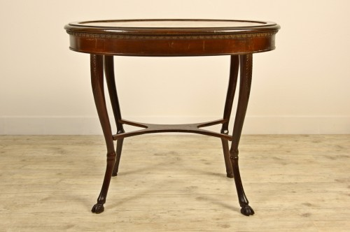 Furniture  - 18th Century, Italian Neoclassical Wood Coffee Table with Alabaster Top