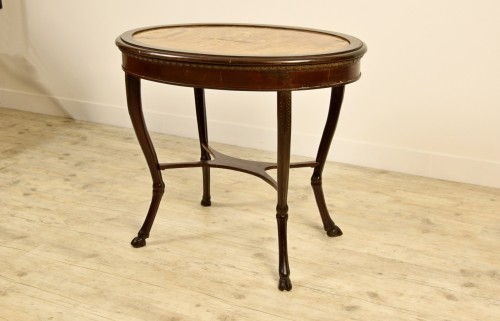 18th Century, Italian Neoclassical Wood Coffee Table with Alabaster Top -