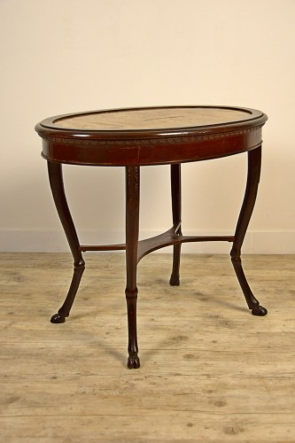 18th century - 18th Century, Italian Neoclassical Wood Coffee Table with Alabaster Top