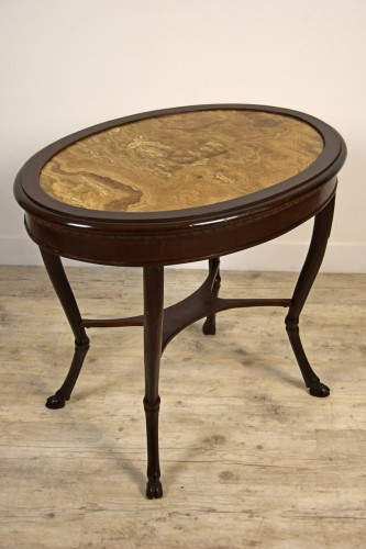 18th Century, Italian Neoclassical Wood Coffee Table with Alabaster Top - Louis XVI
