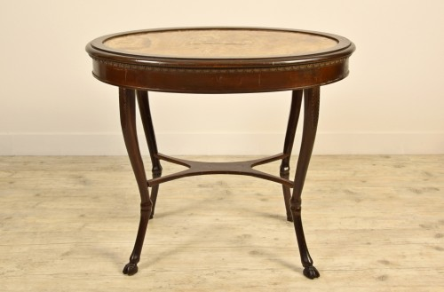 Antiquités - 18th Century, Italian Neoclassical Wood Coffee Table with Alabaster Top