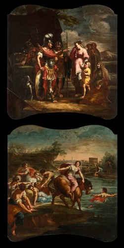 18th Century, Pair of Italian Paintings With Stories of Rome - Paintings & Drawings Style