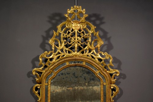 Mirrors, Trumeau  - 18th Century, Italian Carved and Gilt Wood Mirror