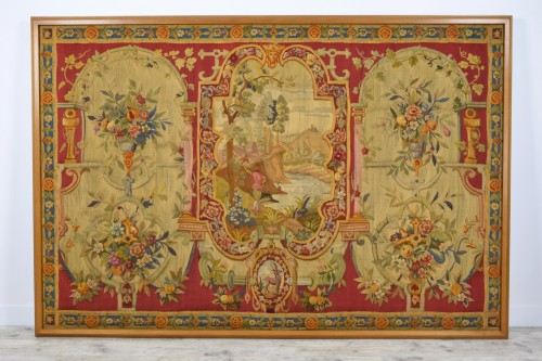 18th Century Wool Tapestry with Floral Decorations and River Landscape  - Tapestry & Carpet Style Louis XV