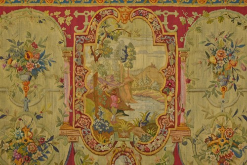Tapestry & Carpet  - 18th Century Wool Tapestry with Floral Decorations and River Landscape