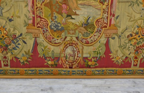 18th Century Wool Tapestry with Floral Decorations and River Landscape  -