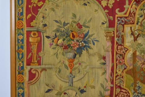 18th century - 18th Century Wool Tapestry with Floral Decorations and River Landscape