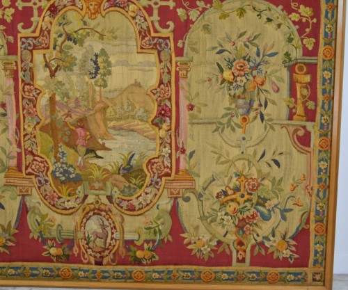 18th Century Wool Tapestry with Floral Decorations and River Landscape  - Louis XV